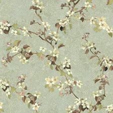 Aqua/Beige/Brown Botanical Wallcovering by York