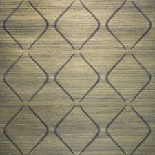 Indigo/Yellow/Metallic Grasscloth Wallcovering by Kravet Wallpaper