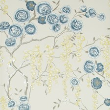 Indigo/Chartreuse/Beige Botanical Wallcovering by Kravet Wallpaper