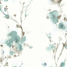 White/Teal/Taupe Botanical Wallcovering by Kravet Wallpaper
