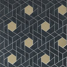Charcoal/Dark Blue/Gold Geometric Wallcovering by Kravet Wallpaper