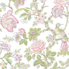 Cream/Rosy Pink/Aqua Asian Wallcovering by York