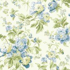 Eggshell/Gray Blue/Cobalt Blue Floral Medium Wallcovering by York