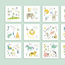 WALS0268 Animal Alphabet Wall Mural by Brewster
