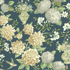 Deep Blue/White/Greens Floral Wallcovering by York