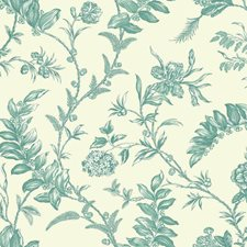 Cream/Teal/White Toile Wallcovering by York