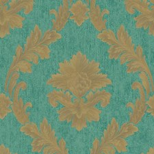 Teal/Gold Floral Wallcovering by York