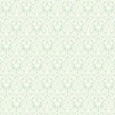 Aquamarine/White Damask Wallcovering by York