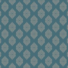 Teal/Silver Damask Wallcovering by York