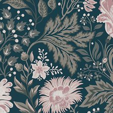 Dark Blue/Pink Wallcovering by Scalamandre Wallpaper