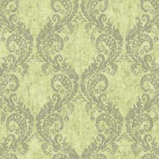 Yellow/Green/Grey Damask Wallcovering by York