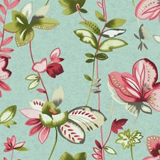 Aquamarine/Red/Pink Floral Wallcovering by York