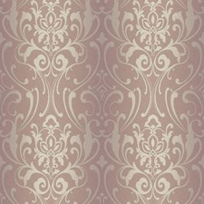 Golden Lilac/Cream/Silver Grey Damask Wallcovering by York